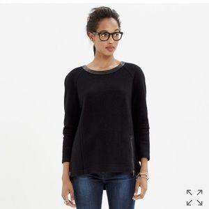 Madewell Leather-Trim Wool Sweatshirt for sale